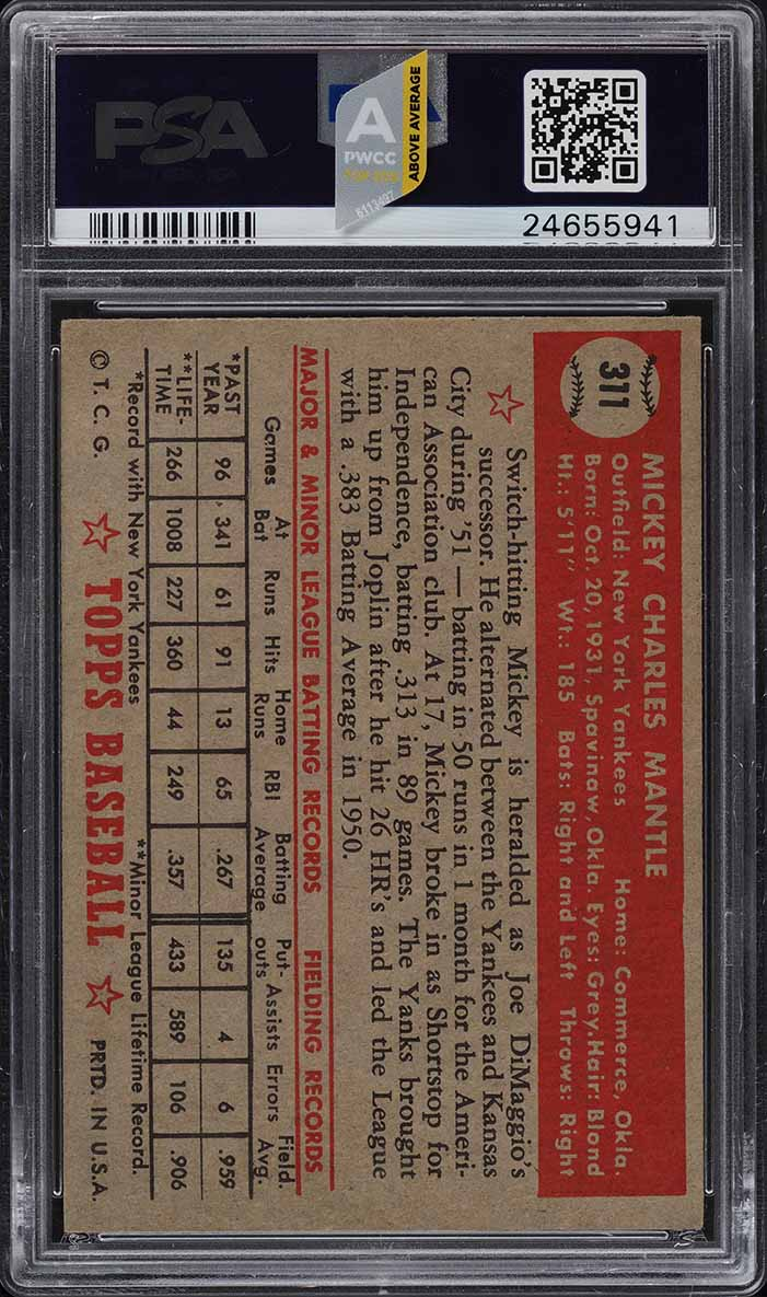 1952 Topps Mickey Mantle #311 PSA 5.5 EX+ (PWCC-A) - Image 2