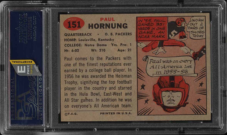 1957 Topps Paul Hornung ROOKIE RC AUTO #151 PSA/DNA AUTH, PSA 7 NRMT (PWCC-E) - Image 2