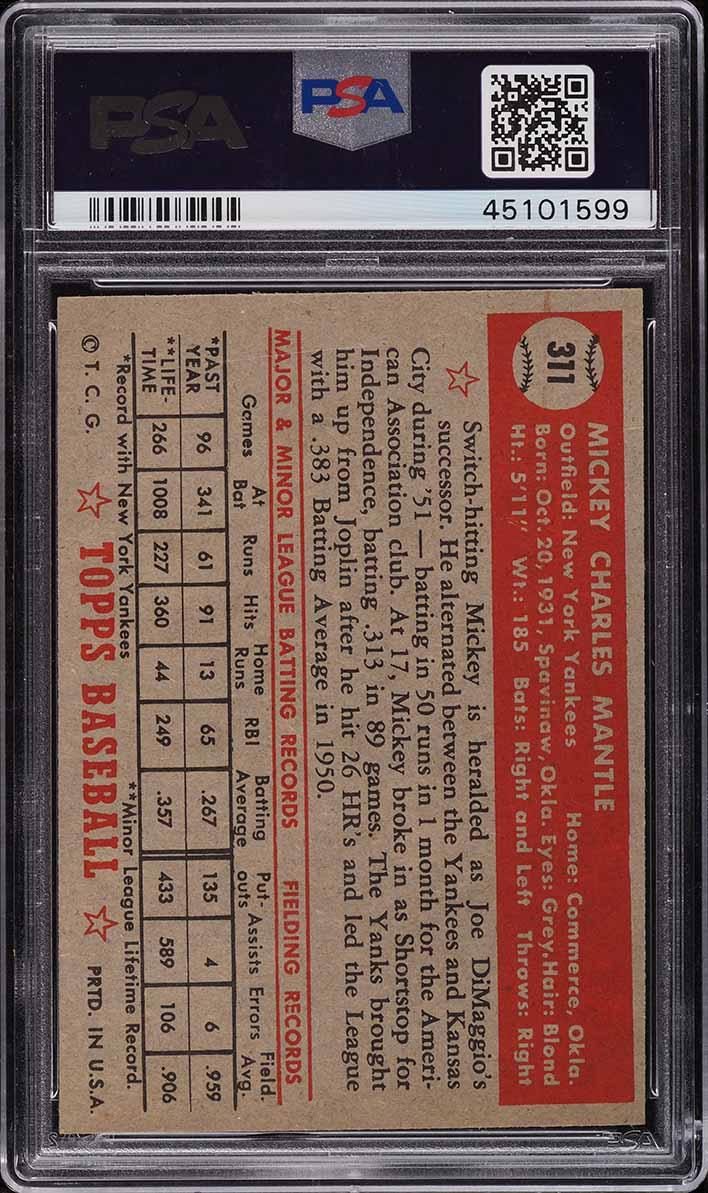 1952 Topps Mickey Mantle #311 PSA 7.5 NRMT+ - Image 2