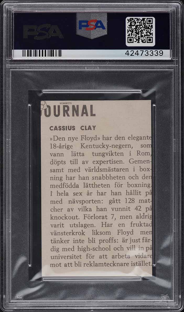 1960 Hemmets Journal Cassius Clay Muhammad Ali ROOKIE RC #23 PSA 9 MINT - Image 2