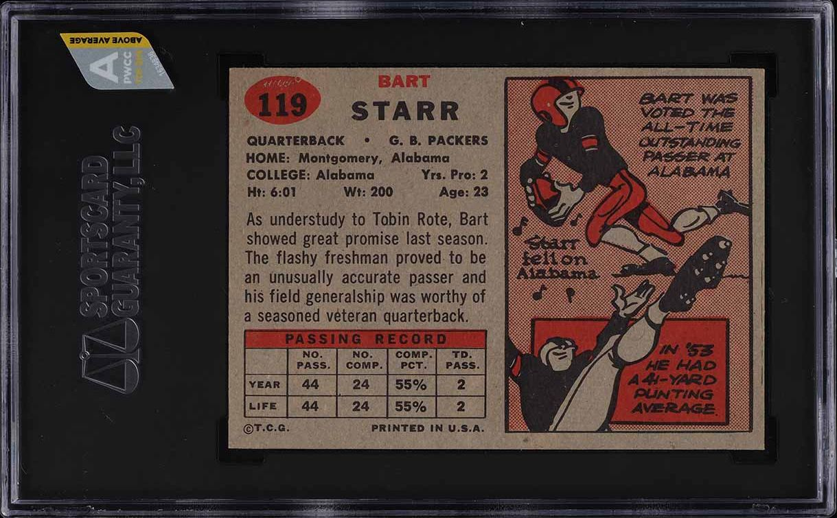 1957 Topps Football Bart Starr ROOKIE RC #119 SGC 9 MINT (PWCC-A) - Image 2