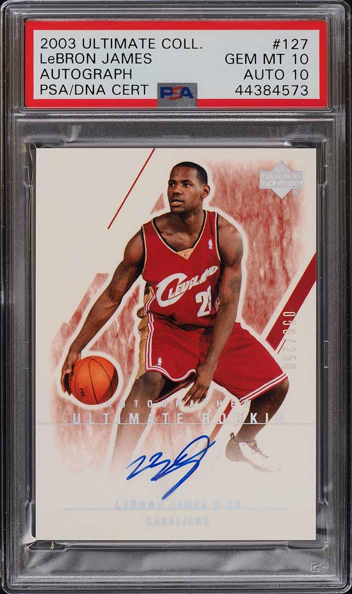 2003 Ultimate Collection Autograph Rookie /250 LeBron James RC PSA 10 - Image 1
