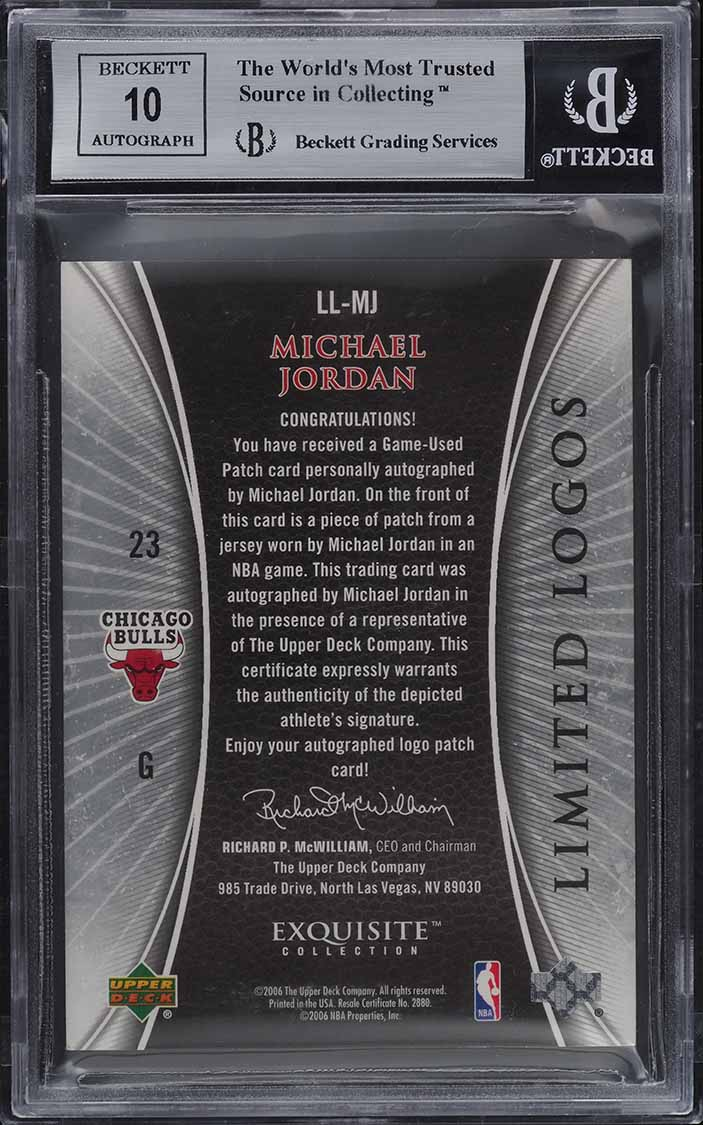 2005 Exquisite Collection Limited Logos Michael Jordan PATCH AUTO 23/50 BGS 9 - Image 2