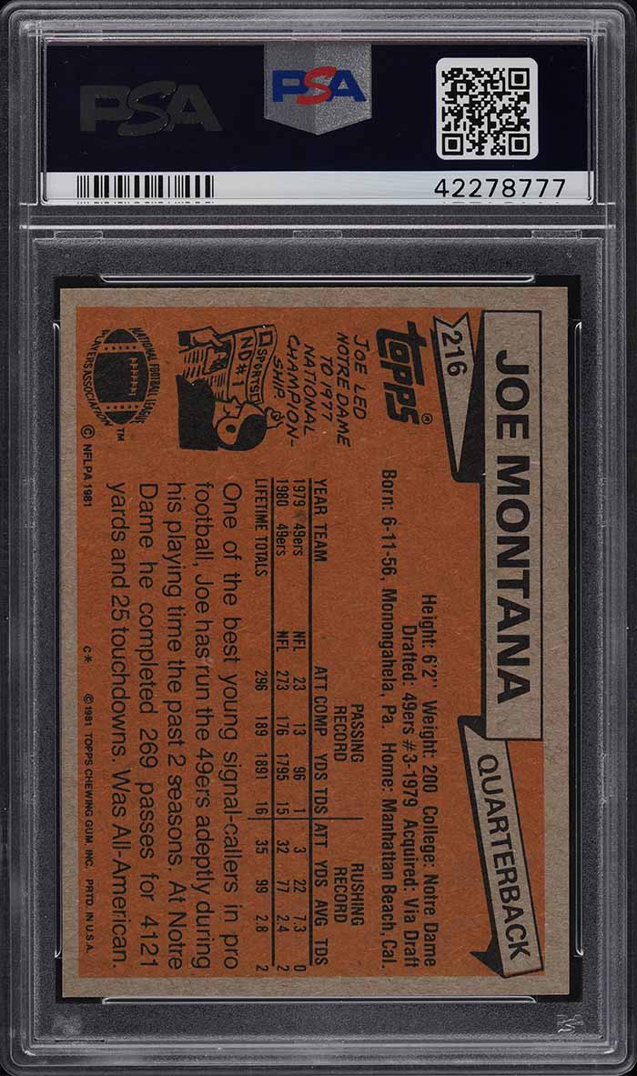 1981 Topps Football Joe Montana ROOKIE RC PSA/DNA 10 AUTO # 216 PSA 10 GEM MINT - Image 2