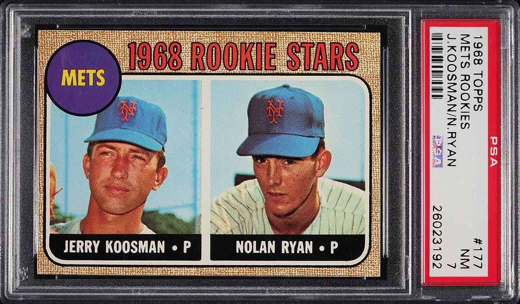 1968 Topps Mets Rookies Nolan Ryan ROOKIE RC #177 PSA 7 NRMT - Image 1