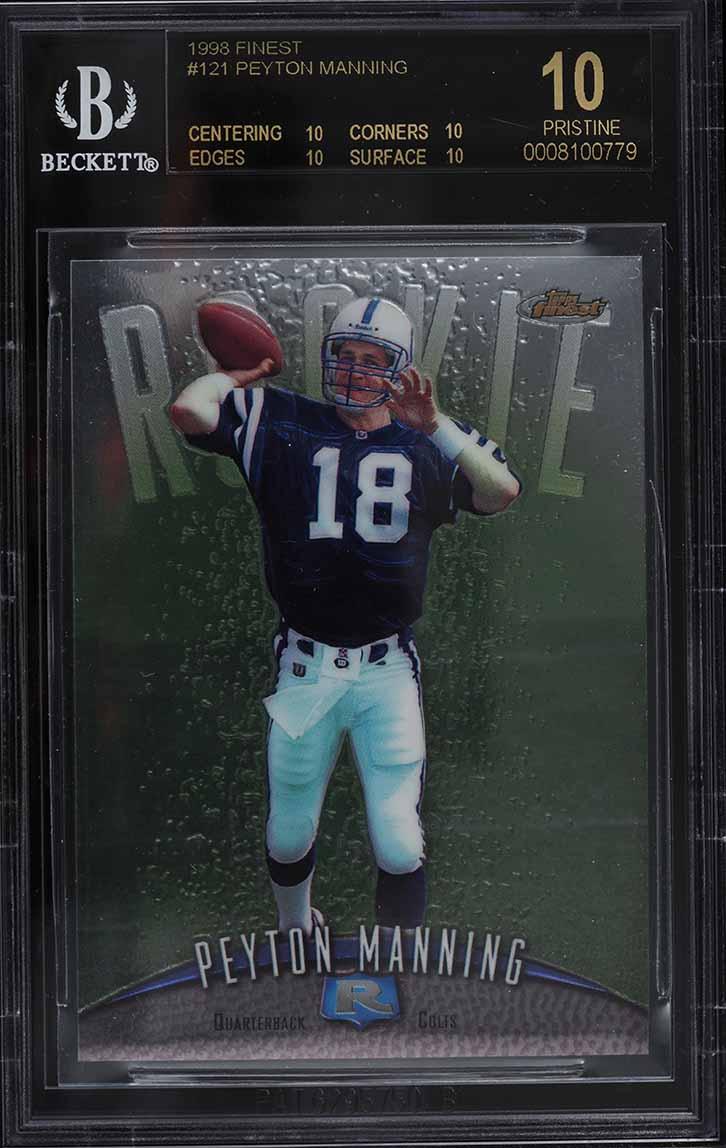1998 Finest Football Peyton Manning ROOKIE RC #121 BGS 10 PRISTINE, BLACK LABEL - Image 1