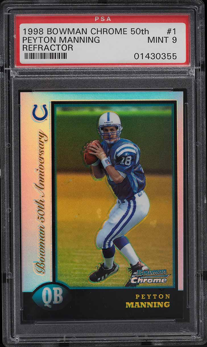 1998 Bowman Chrome 50th Golden Refractors Peyton Manning ROOKIE RC /5 #1 PSA 9 - Image 1