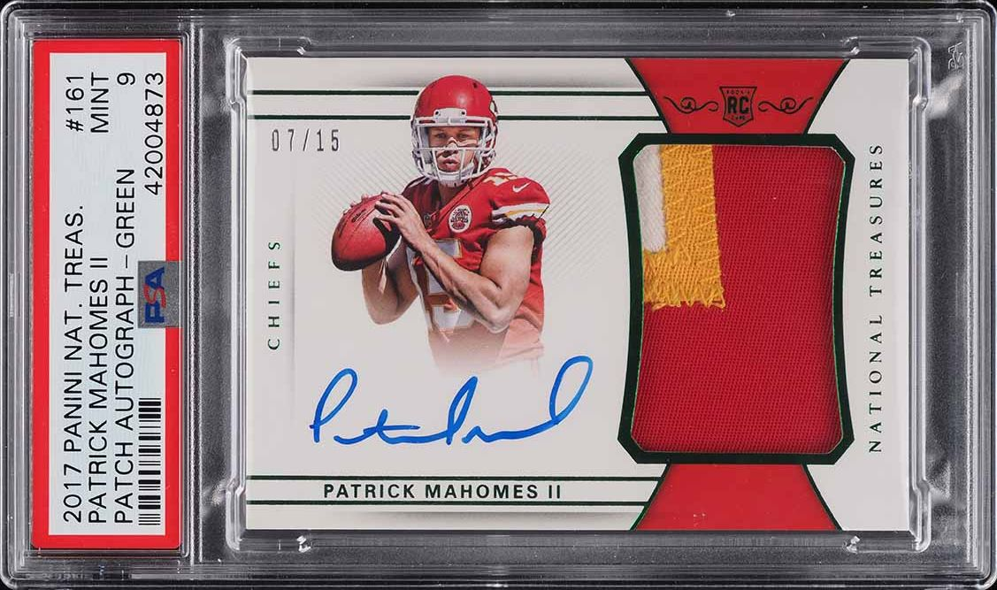 2017 National Treasures Green Patrick Mahomes II ROOKIE RC PATCH AUTO /15 PSA 9 - Image 1