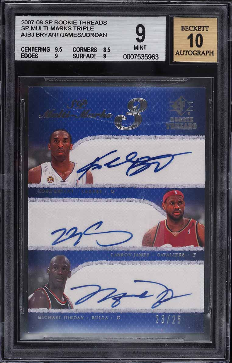 2007 SP Rookie Threads Kobe Bryant LeBron James Michael Jordan AUTO 23/25 BGS 9 - Image 1