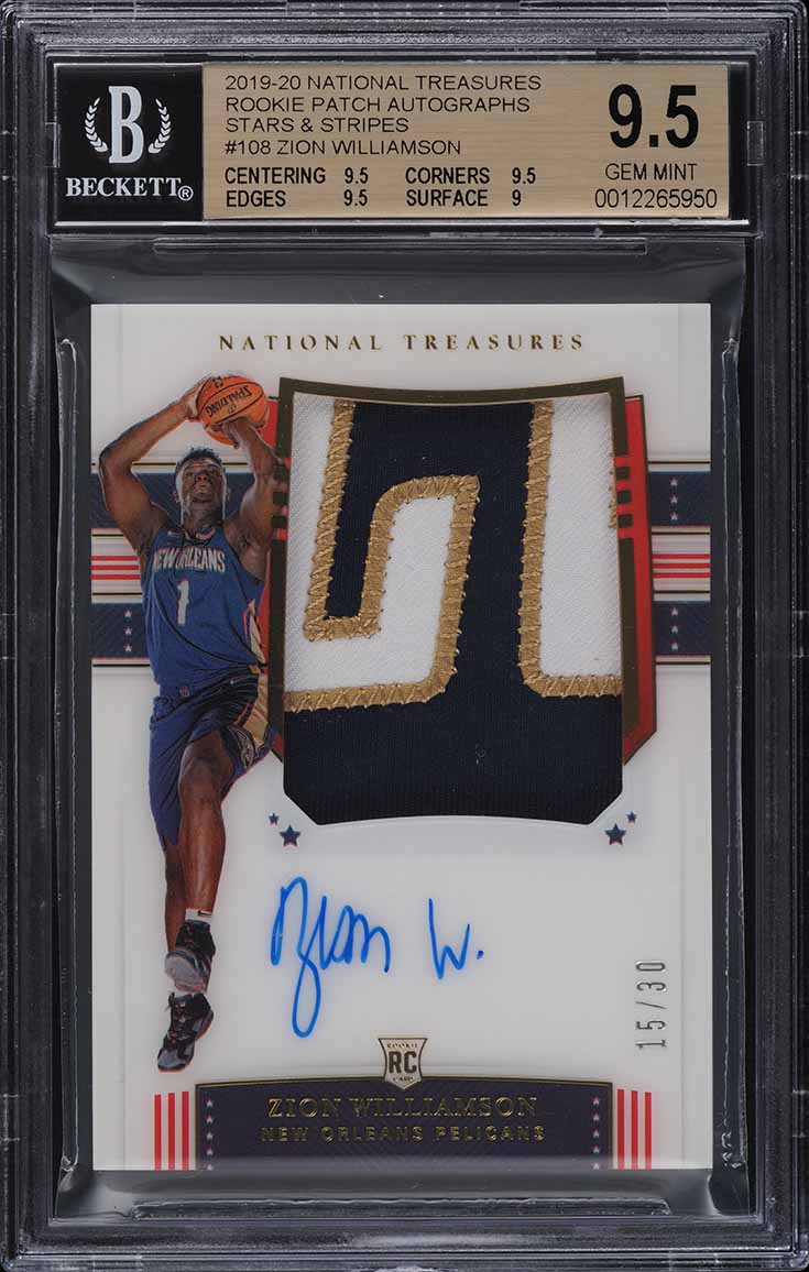 2019 National Treasures Zion Williamson FOTL ROOKIE PATCH AUTO /30 BGS 9.5 - Image 1