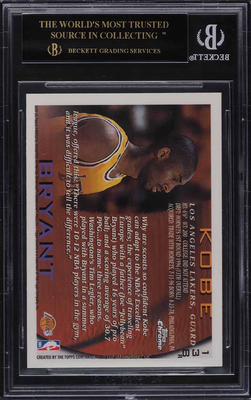 1996 Topps Chrome Refractor Kobe Bryant ROOKIE RC #138 BGS 10 BLACK LABEL - Image 2