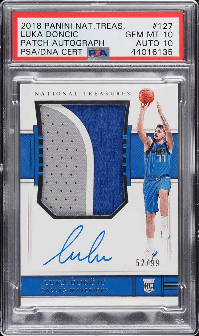 2018 National Treasures Luka Doncic ROOKIE RC AUTO 3-CLR PATCH /99 PSA 10 - Image 1