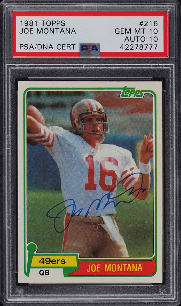 1981 Topps Football Joe Montana ROOKIE RC PSA/DNA 10 AUTO # 216 PSA 10 GEM MINT - Image 1