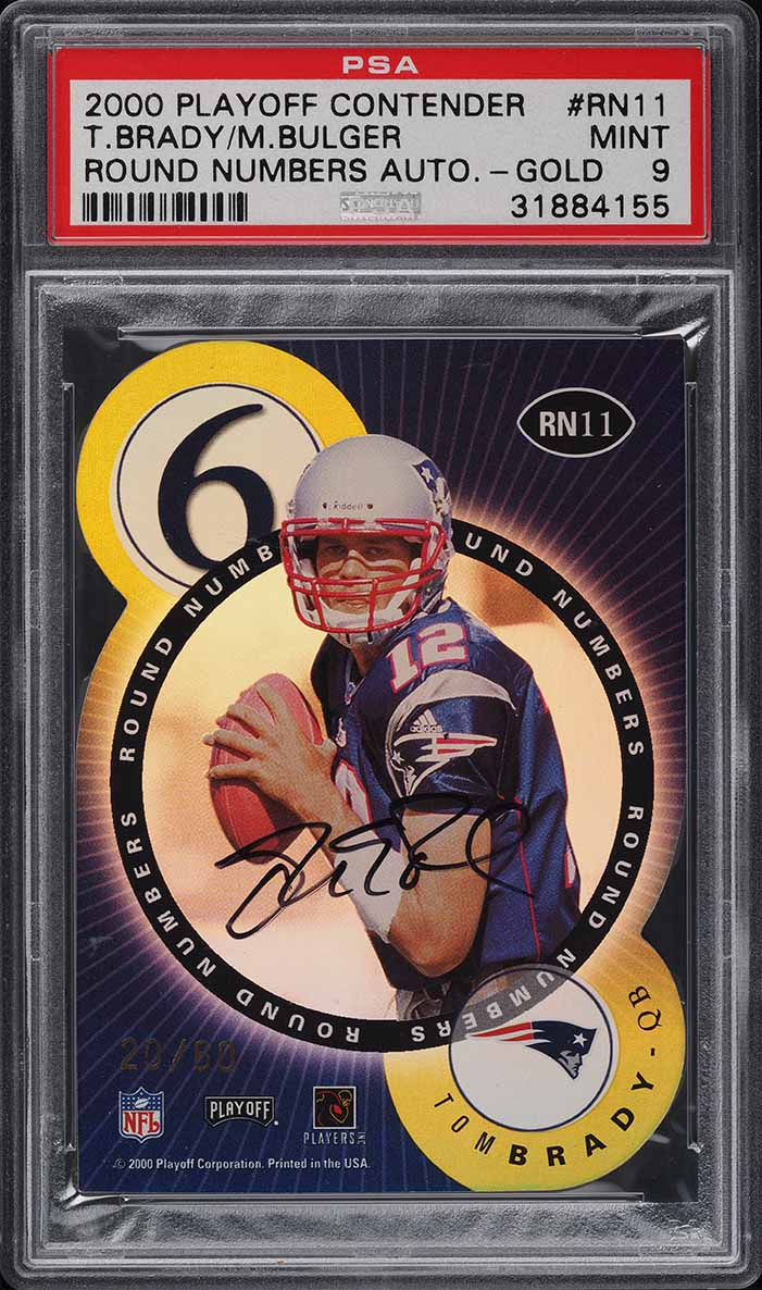 2000 Playoff Contenders Round Numbers Gold Tom Brady ROOKIE AUTO /60 PSA 9 MINT - Image 1
