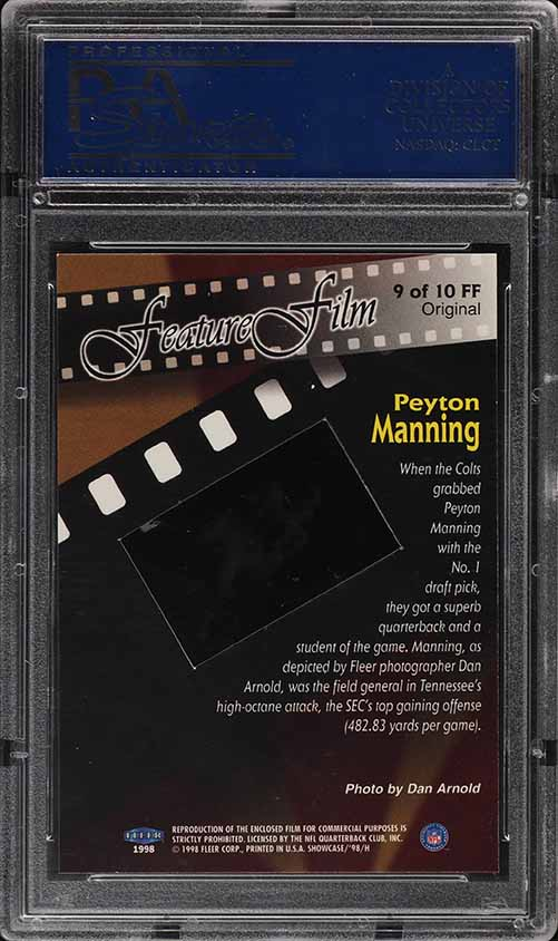 1998 Flair Showcase Feature Film Peyton Manning ROOKIE RC 1/1 #9 PSA 10 GEM MINT - Image 2