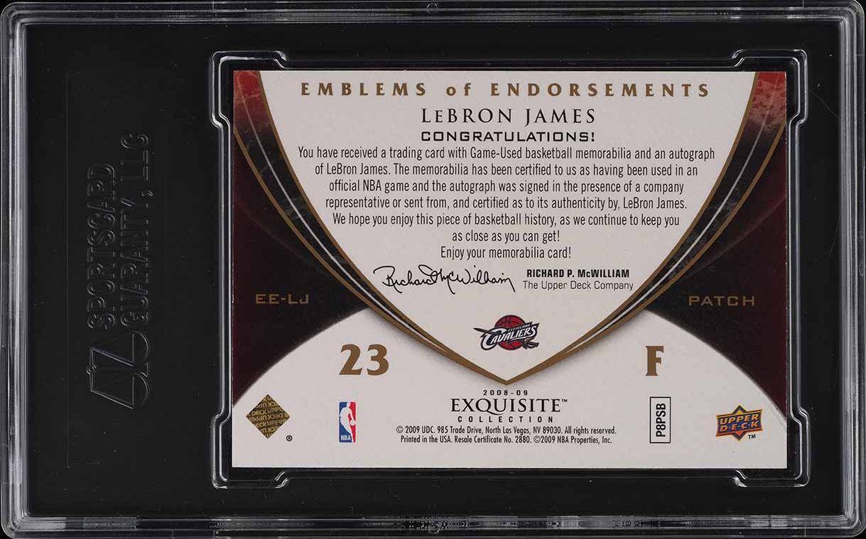 2008 Exquisite Emblems Endorsements LeBron James PATCH AUTO /10 SGC 8.5 - Image 2