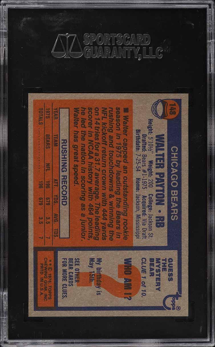 1976 Topps Football Walter Payton ROOKIE RC #148 SGC 10 PRISTINE GOLD LABEL - Image 2
