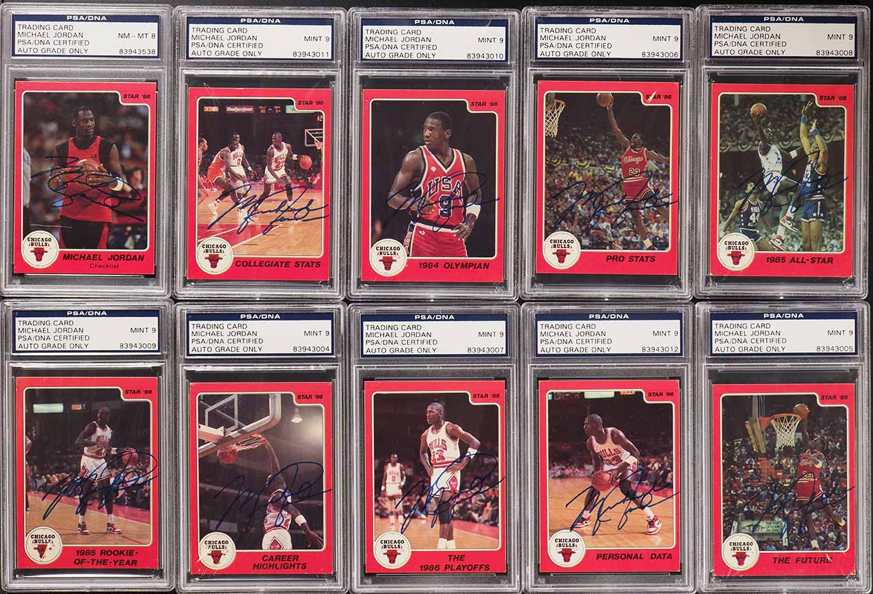 1986 Star Basketball Michael Jordan RC '86 AUTO SET, ALL PSA/DNA - Image 1