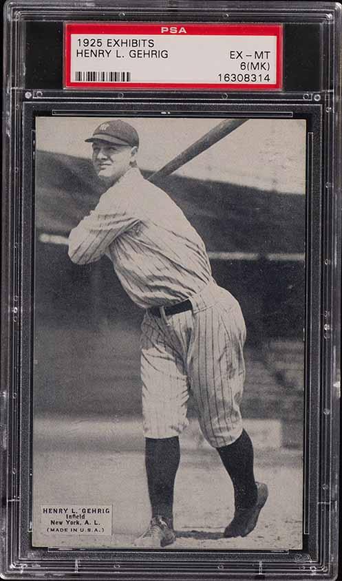 1925 Exhibits Lou Gehrig ROOKIE RC PSA 6(mk) EX-MT - Image 1