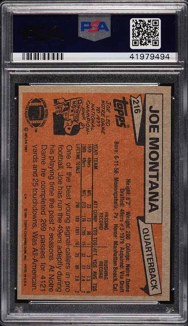 1981 Topps Joe Montana ROOKIE RC #216 PSA 9 MINT - Image 2