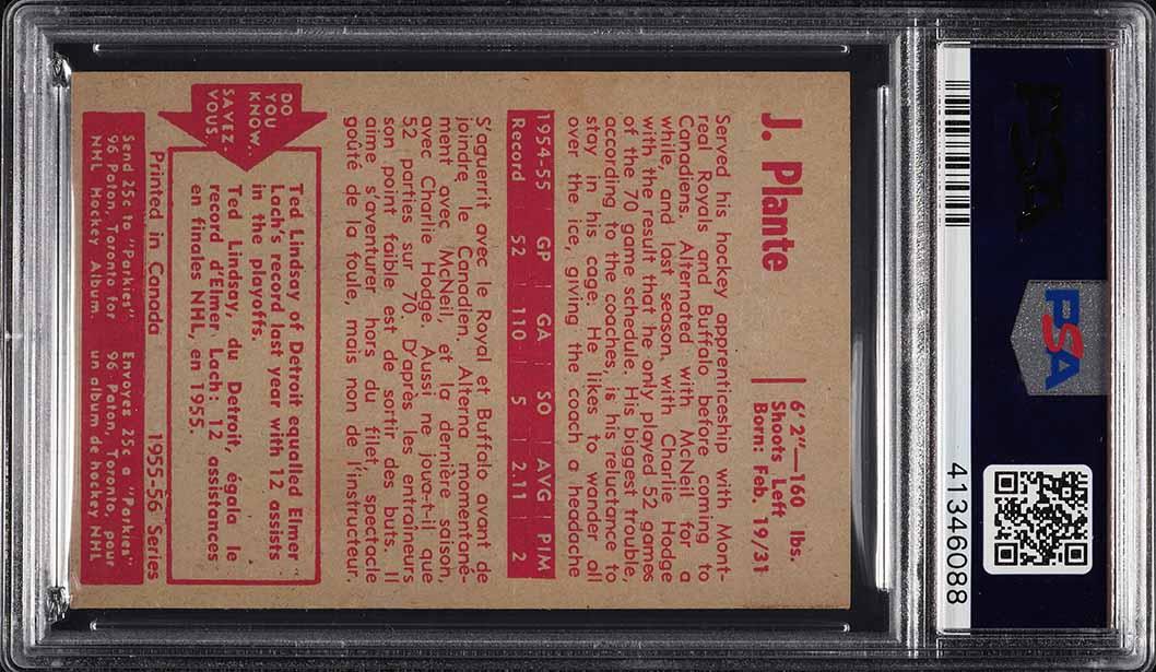 1955 Parkhurst Jacques Plante ROOKIE RC #50 PSA 7.5 NRMT+ - Image 2