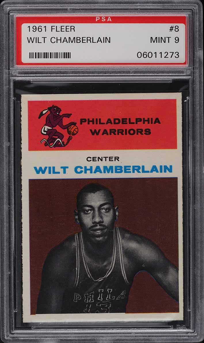 1961 Fleer Basketball Wilt Chamberlain ROOKIE RC #8 PSA 9 MINT - Image 1