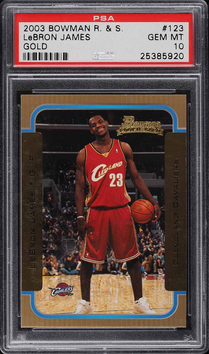 2003 Bowman Gold LeBron James ROOKIE RC #123 PSA 10 GEM MINT - Image 1
