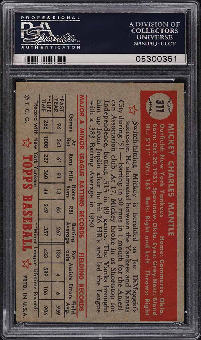 1952 Topps Mickey Mantle #311 PSA 6 EXMT - Image 2