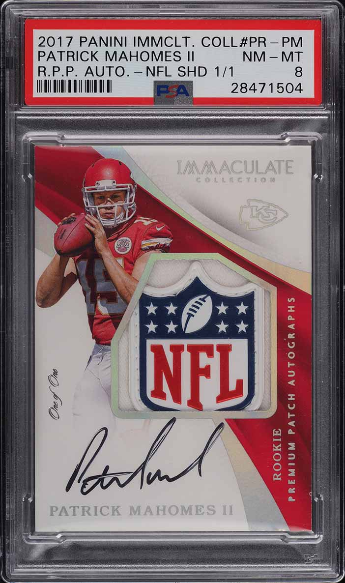 2017 Immaculate NFL Logo Shield Patrick Mahomes RC AUTO PATCH 1/1 PSA 8 - Image 1