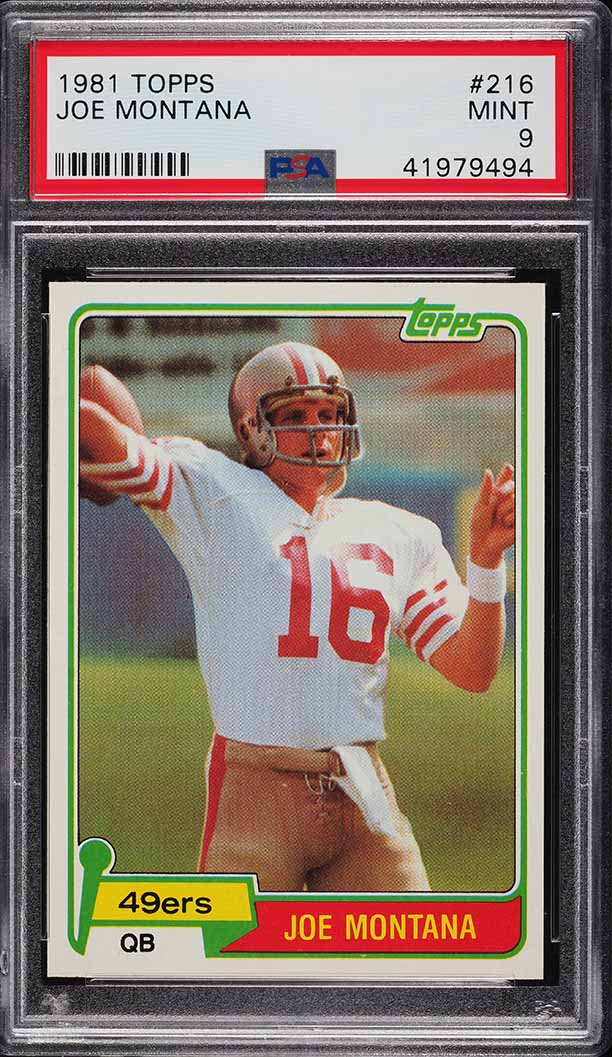 1981 Topps Joe Montana ROOKIE RC #216 PSA 9 MINT - Image 1