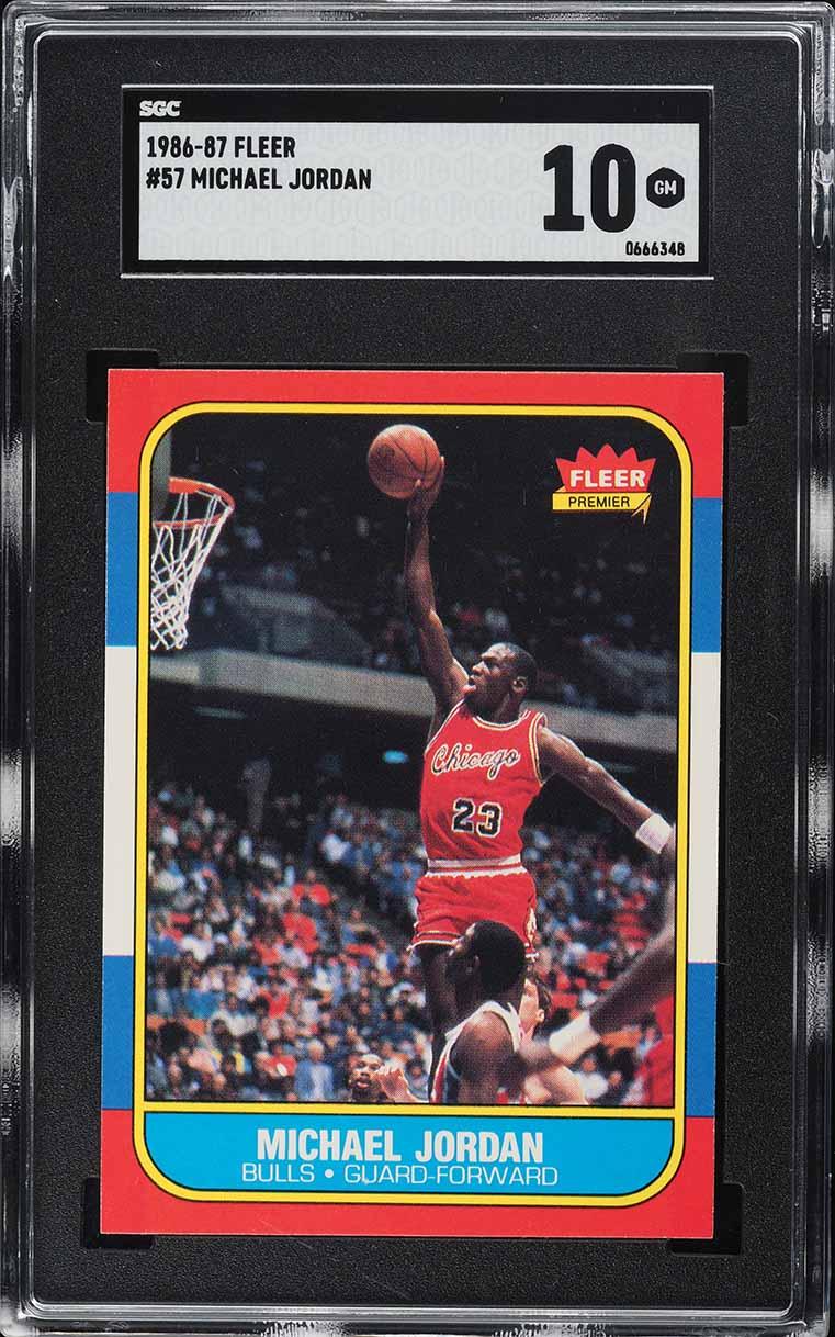 1986 Fleer Basketball Michael Jordan ROOKIE RC #57 SGC 10 GEM MINT - Image 1