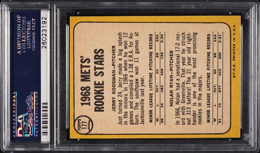 1968 Topps Mets Rookies Nolan Ryan ROOKIE RC #177 PSA 7 NRMT - Image 2