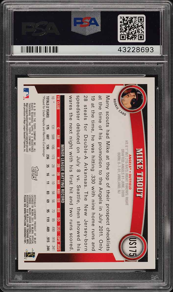 2011 Topps Update Mike Trout GOLD CANARY DIAMOND 1/1 RC #US175 PSA 9 MINT - Image 2