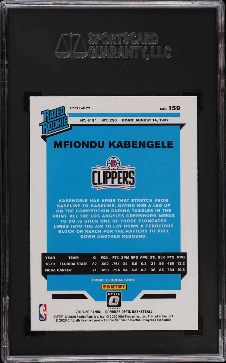 2019 Donruss Optic Holo Mfiondu Kabegele ROOKIE RC #159 SGC 10 GEM MINT - Image 2