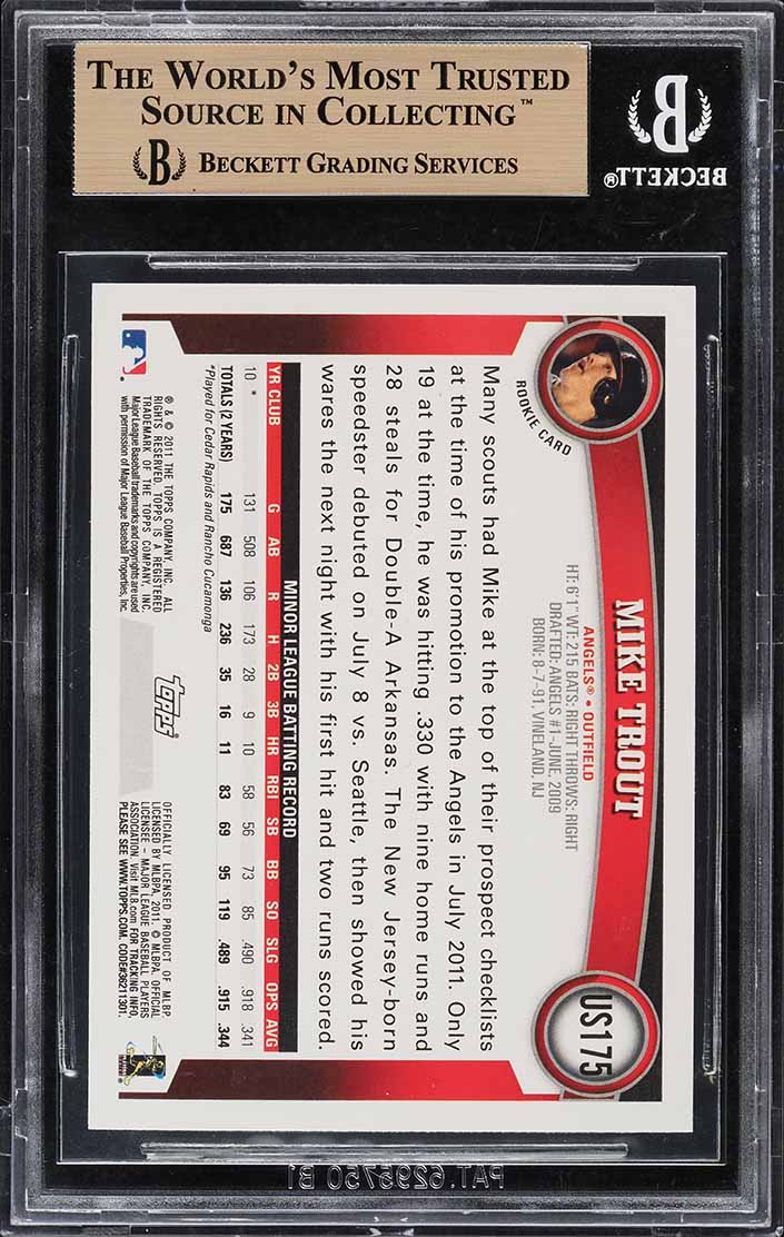 2011 Topps Update Wal-Mart Blue Border Mike Trout ROOKIE RC #US175 BGS 10 - Image 2