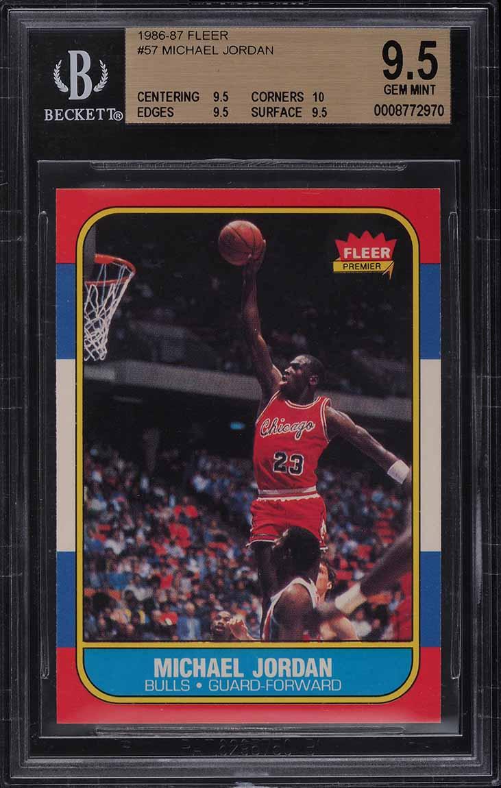 1986 Fleer Basketball Michael Jordan ROOKIE RC #57 BGS 9.5 GEM MINT - Image 1