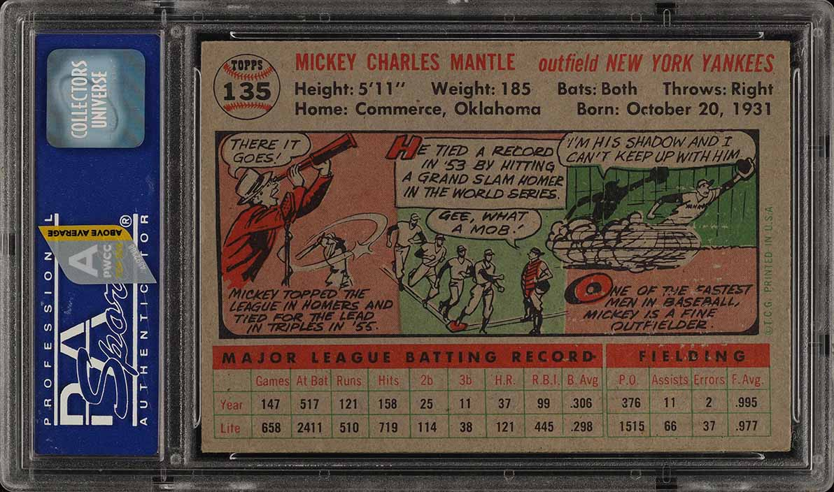 1956 Topps Mickey Mantle GRAY BACK #135 PSA 6 EXMT - Image 2