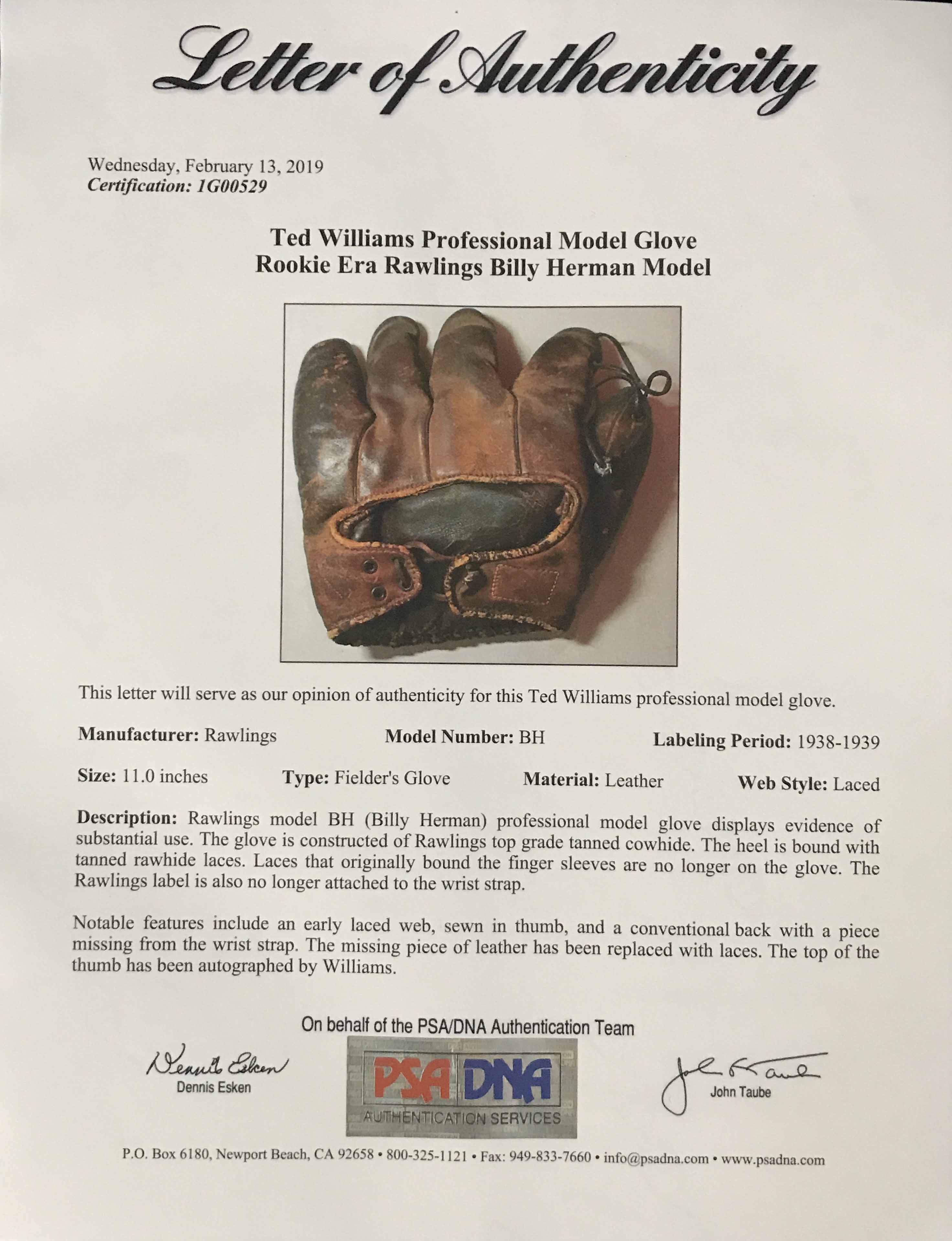Ted Williams 1938-39 Game Used Rookie Era Glove + Auto PSA/DNA - Image 6