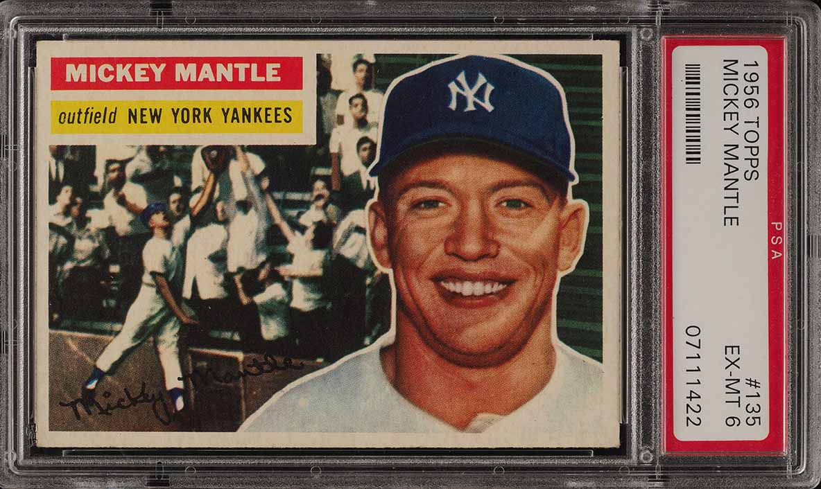 1956 Topps Mickey Mantle GRAY BACK #135 PSA 6 EXMT - Image 1