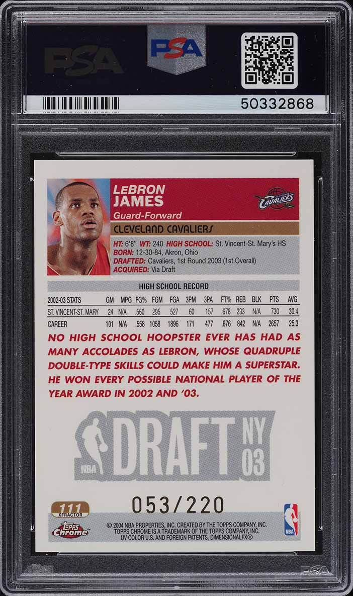 2003 Topps Chrome Xfractor LeBron James ROOKIE RC /220 #111 PSA 9 MINT - Image 2