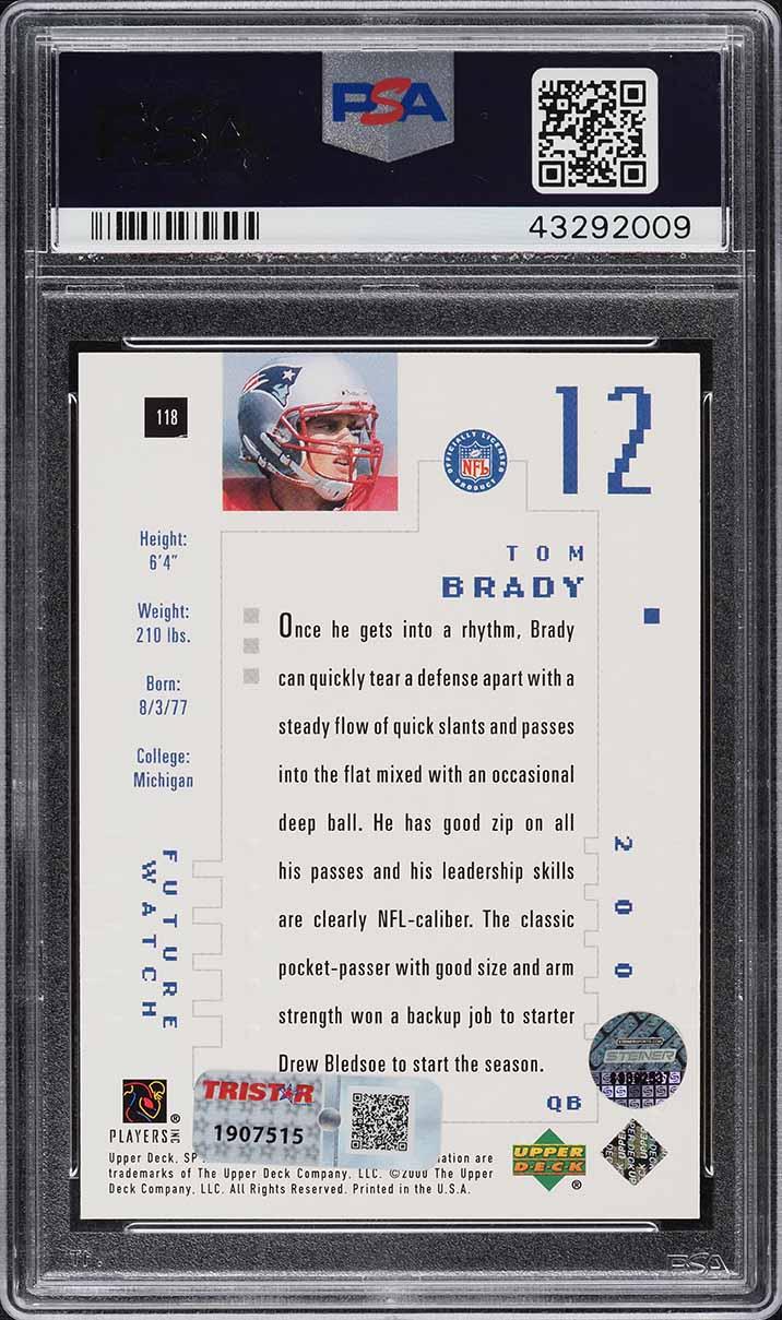 2000 SP Authentic Tom Brady ROOKIE RC PSA 10 GEM MINT - Image 2