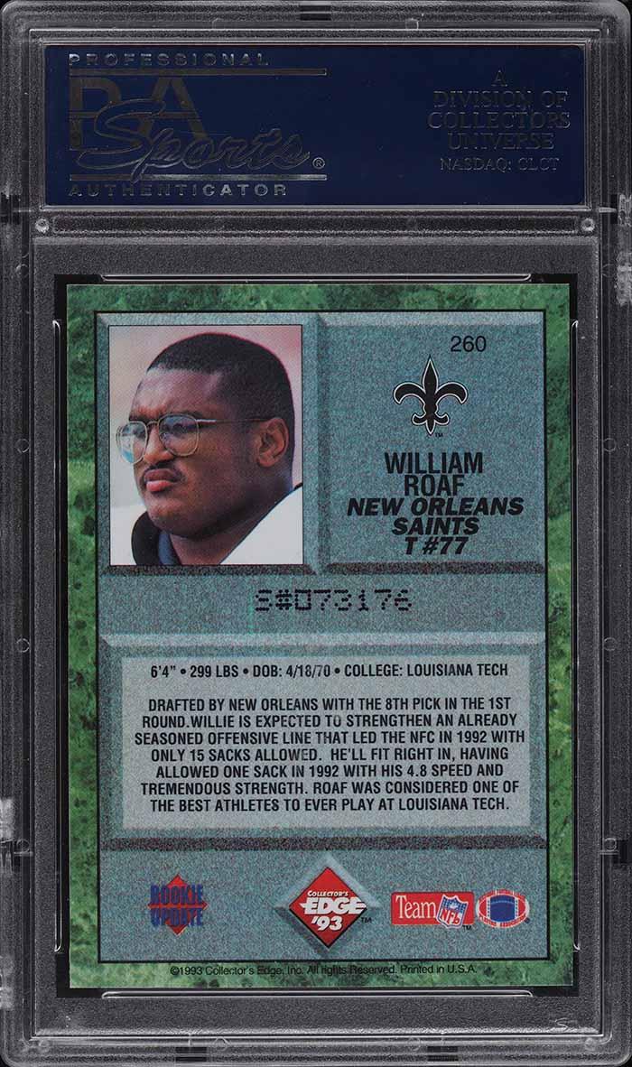 1993 Collector's Edge Willie Roaf ROOKIE RC #260 PSA 10 GEM MINT - Image 2