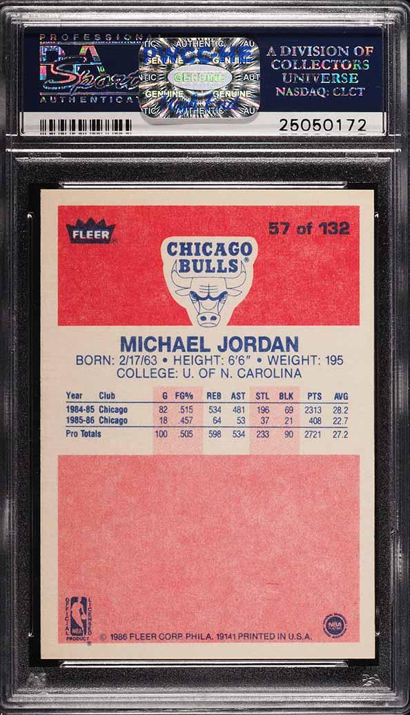 1986 Fleer Basketball Michael Jordan ROOKIE RC #57 PSA 8 NM-MT - Image 2