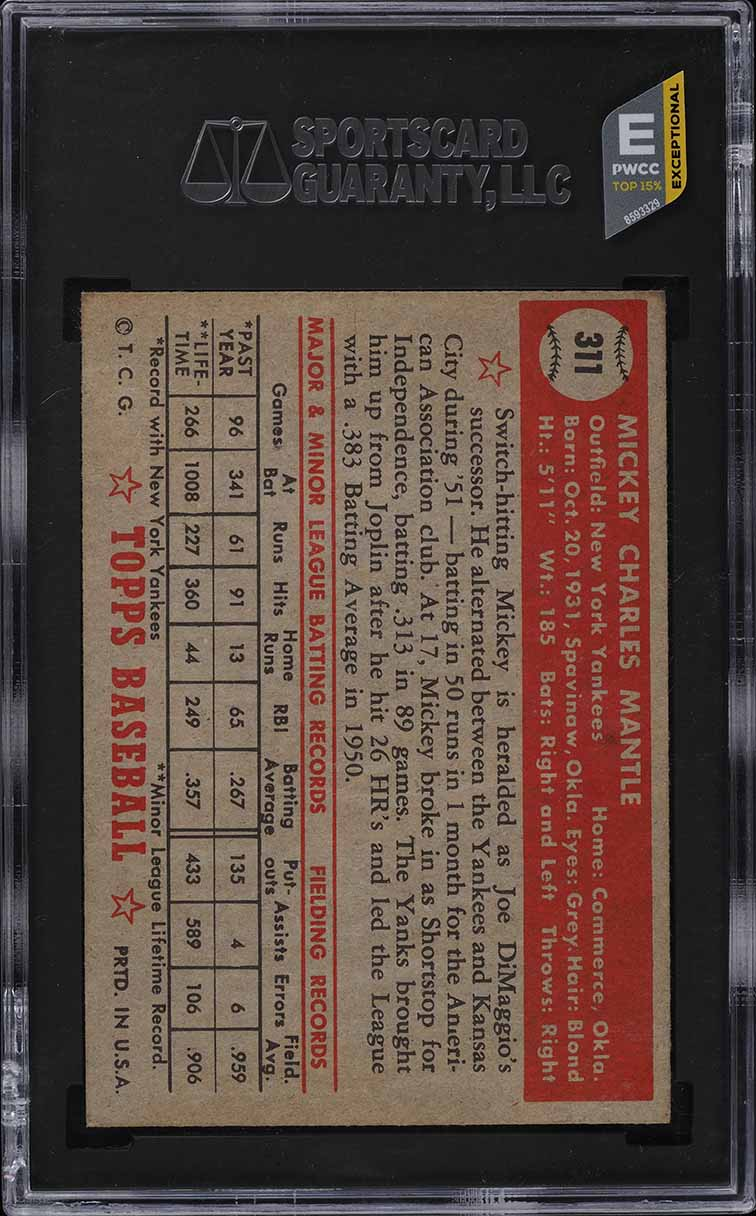 1952 Topps Mickey Mantle #311 SGC 6.5 EXMT+ - Image 2