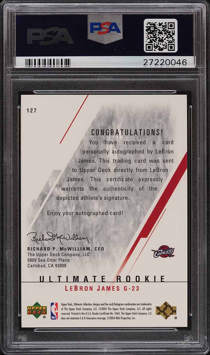 2003 Ultimate Collection Auto Lebron James ROOKIE RC /250 #127 PSA 10 GEM - Image 2