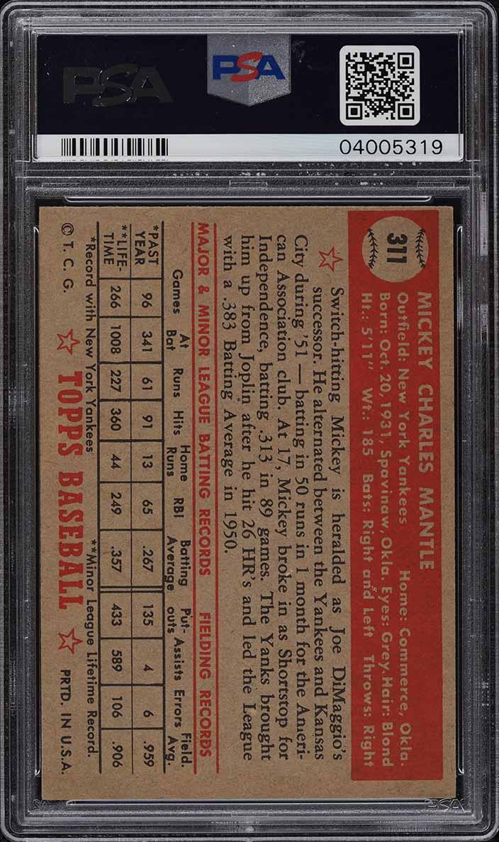 1952 Topps Mickey Mantle #311 PSA 7 NRMT - Image 2