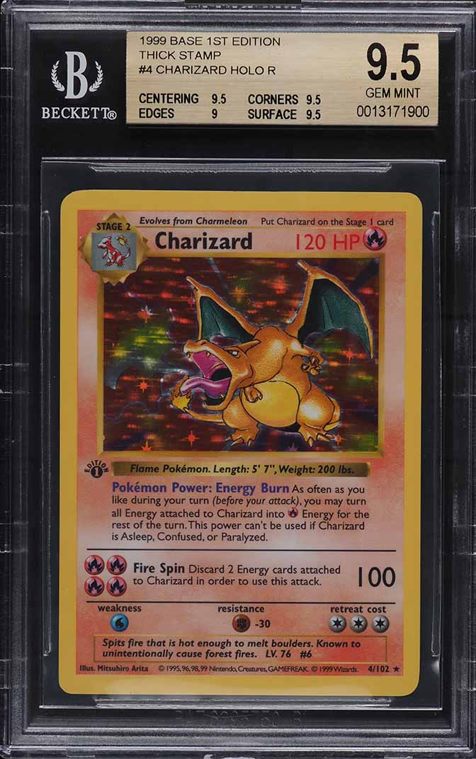 1999 Pokemon Base Set 1st Edition Holo Charizard THICK STAMP #4 BGS 9.5 GEM - Image 1