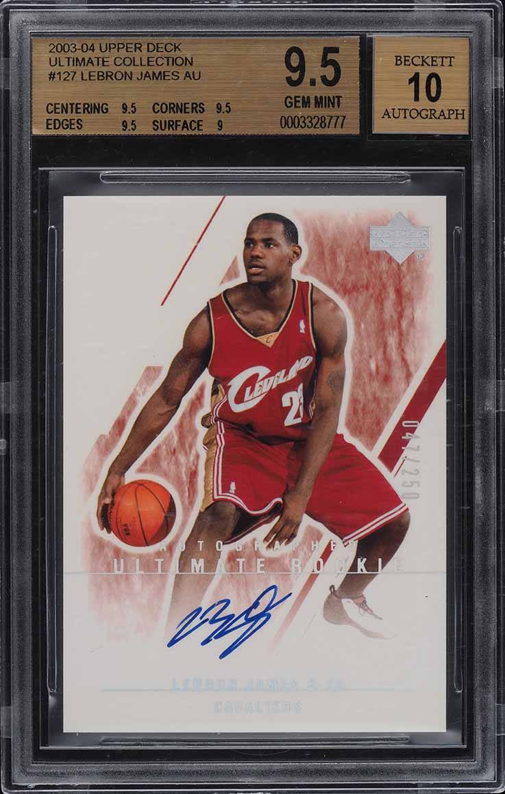 2003 Ultimate Collection LeBron James ROOKIE RC AUTO /250 #127 BGS 9.5 - Image 1