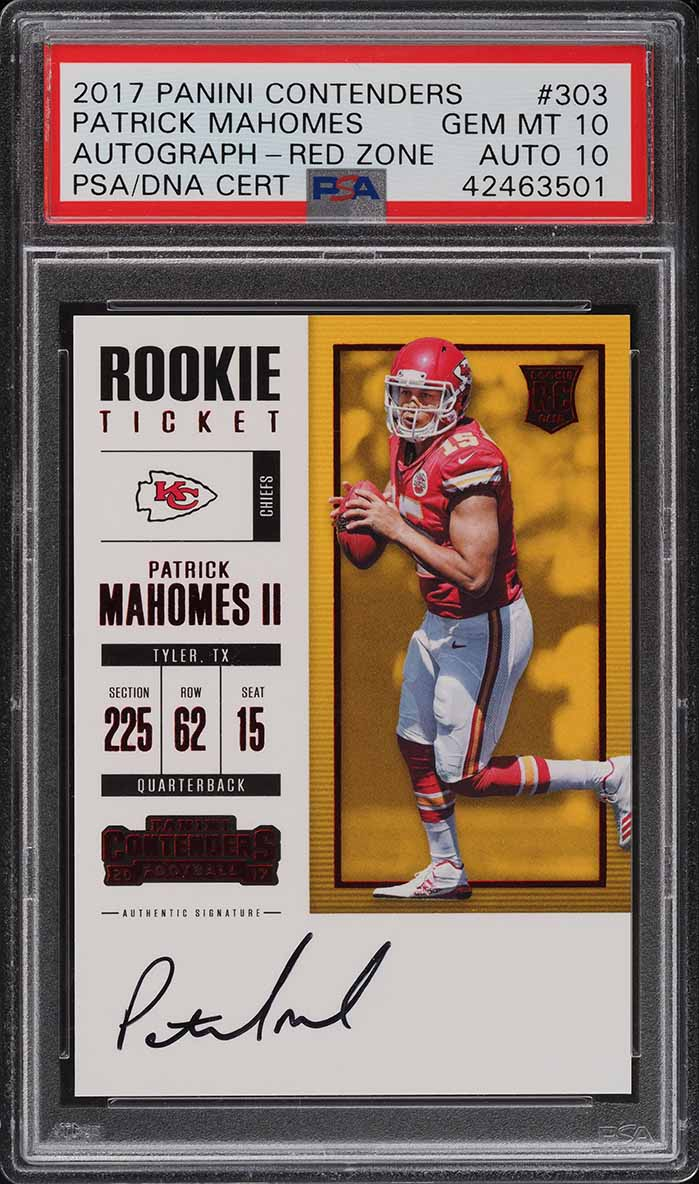 2018 Panini Contenders Red Zone Patrick Mahomes RC AUTO PSA 10 - Image 1