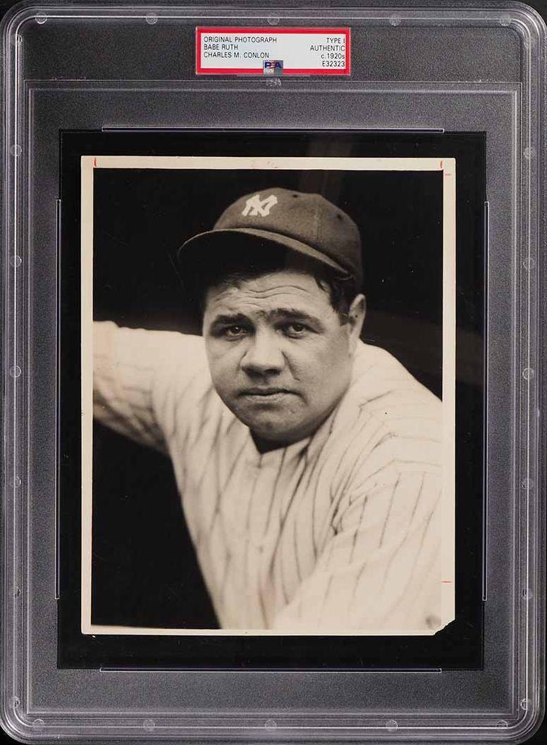 Type 1 Original Photo Babe Ruth, Charles Conlon c. 1920's PSA Auth - Image 1
